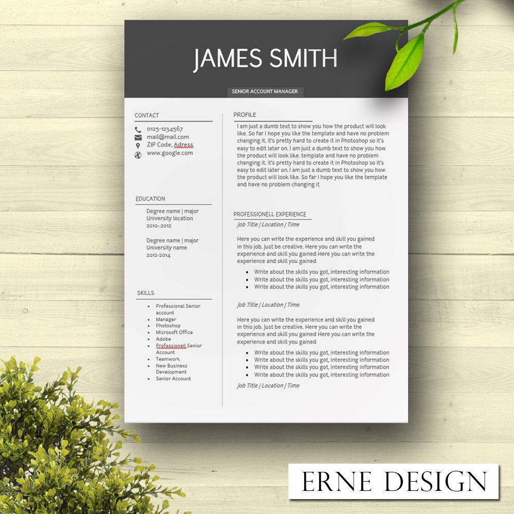 Resume Template - Minimalistic Black Touch - WORD - CV Template ...