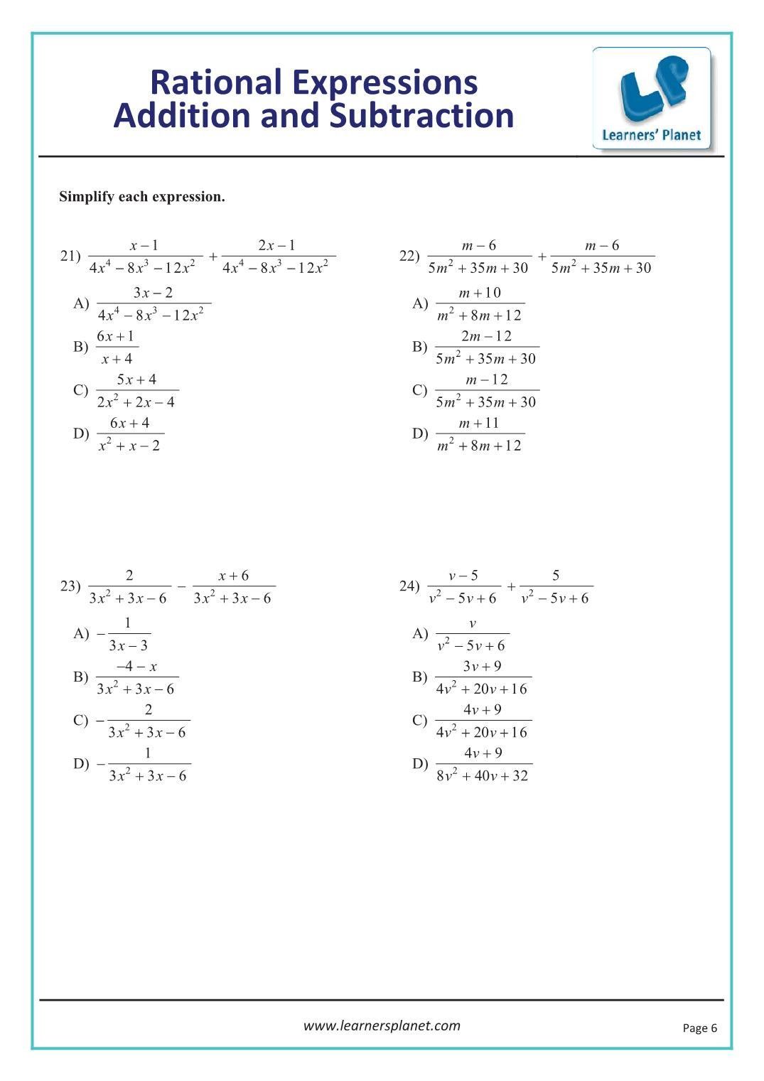 Dividing Rational Expressions Worksheet In 2021 Rational Expressions Nouns Worksheet Expressions Addition of rational expressions