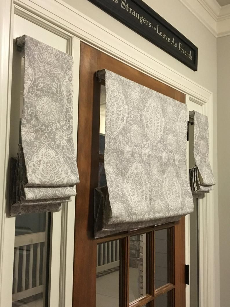 Custom Made Flat Front Roman Shade Window Treatments for Your Front Door and 2 Sidelight Windows - Labor Only - Customer Provides Fabric