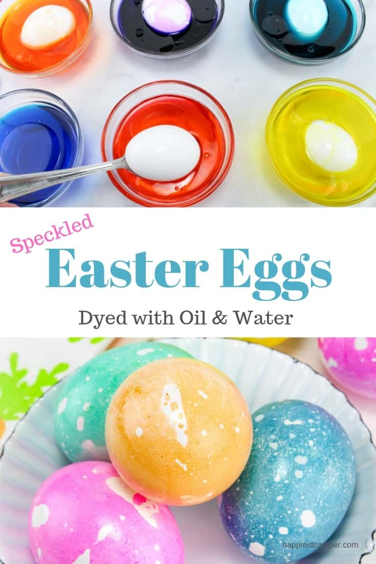 Dye speckled Easter eggs with just oil and water.