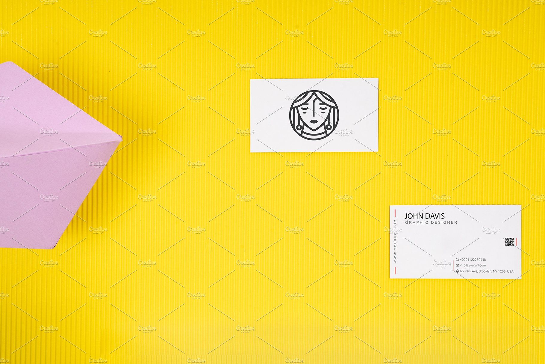 Business Card Mockup In Yellow 8 Business Card Mock Up Business Postcards Business Card Template