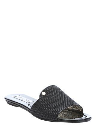 black patent leather and canvas 'Nanda' slip-on sandals