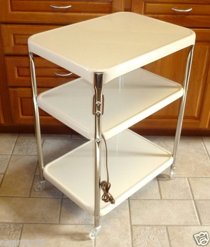 Vtg Cosco Kitchen 3 Tier Utility Cart W Plug Rolling Metal Chrome Retro MCM  | EBay