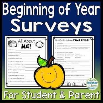Beginning of Year Parent Survey and Student Survey Parent survey - student survey