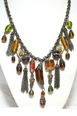 "ART DECO VINTAGE MULTI COLOR TASSEL CHARM GLASS BEAD NECKLACE JEWELRY TOGGLE 16""  RHINESTONE COLLAR CHOKER BIB ITALIAN MURANO AMBER COLOR                            Seller information  justinsublime (1610  )    100% Positive feedback  Save this seller  See other items     AdChoice  Item condition:--  Time left: 3d 10h (Mar 07, 2013 18:00:16 PST)  Starting bid:US $9.29  [ 0 bids ]"
