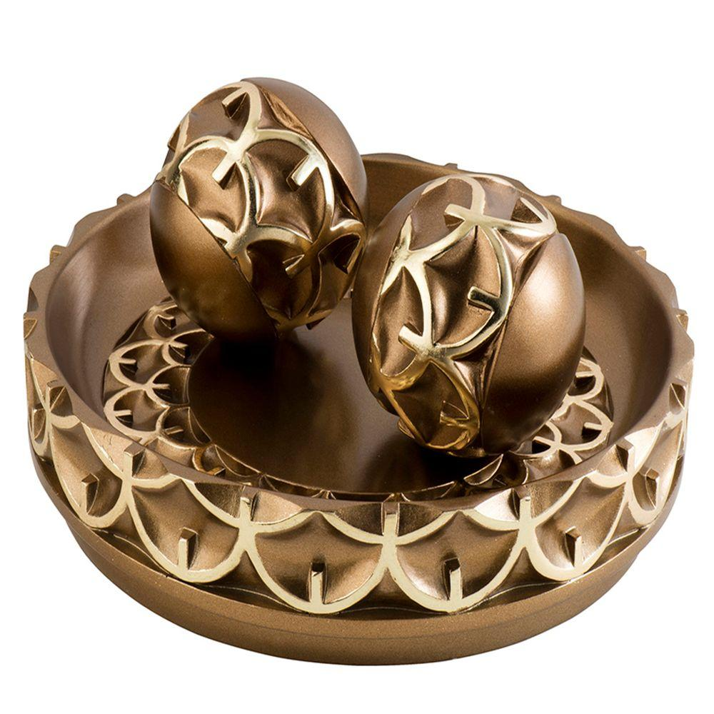 11.75 in. W x 5 in. H Mystic Owl Decorative Bowl with Spheres in Gold