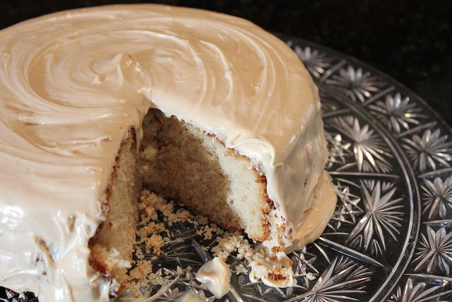 Super easy spiced apple cider cake with salted caramel icing.