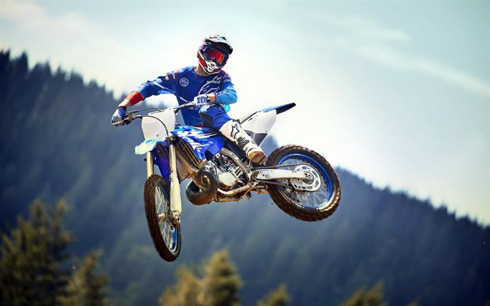 Download Wallpapers Yamaha YZ450F Sportbikes 2018 Bikes Motocross Jump