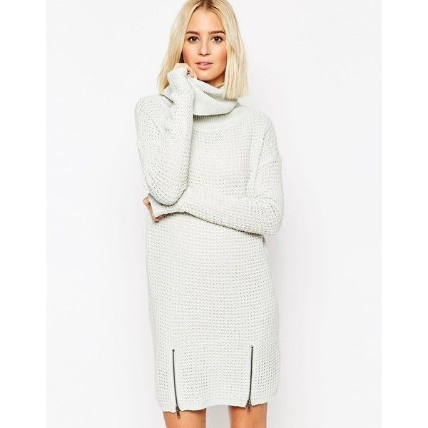 051e55a67c3d Vero Moda Roll Neck Sweater Dress With Zip Front ( 48) ❤ liked on Polyvore  featuring dresses, sky gray, tall dresses, zip dress, gray sweater dress,  ...