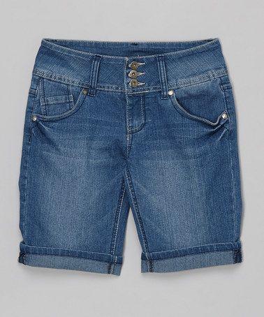 Blue Denim Shorts by YMI #zulily #zulilyfinds