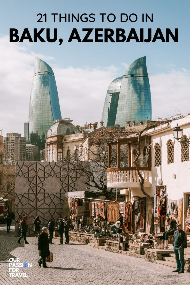 Baku in Azerbaijan is a fascinating capital city. From the free city walking tour, to a beautiful old town and the iconic Flame Towers, you won't be bored during your travels to this city. Check out our travel guide with the top things to do in this less visited destination.  #baku #azerbaijan #travel #traveltips
