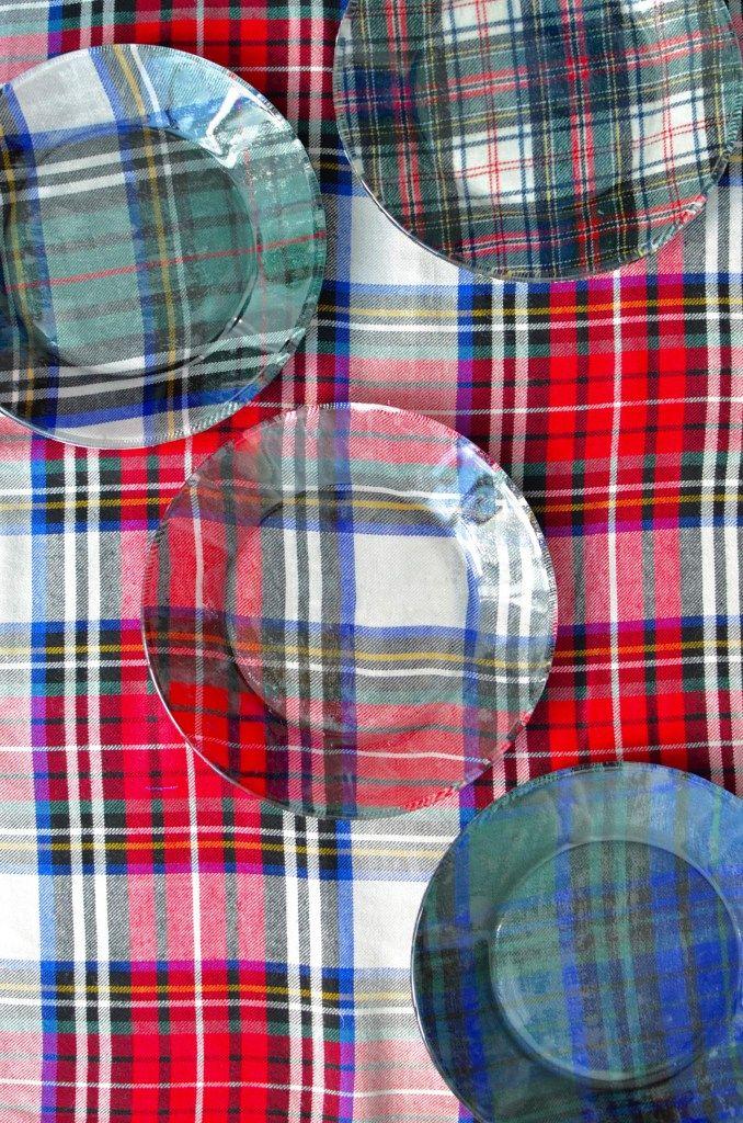 DIY Plaid Fabric Glass Plates Home Pinterest DIY, Fabric and