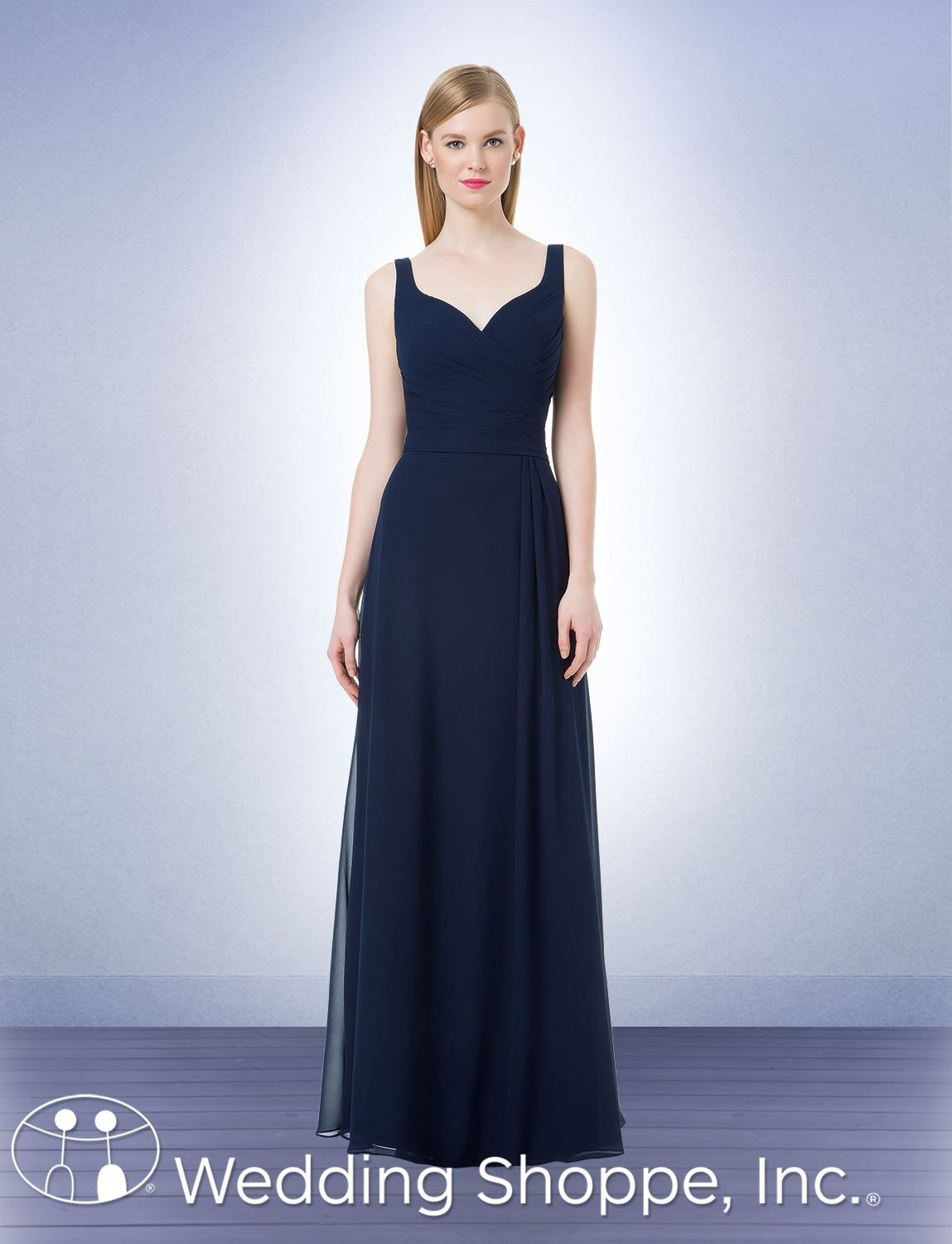 720dde1dca Bill Levkoff 1213  Asymmetrical pleating begins at the bridesmaid dresses  deep curved sweetheart neckline and continues through the fitted bodice