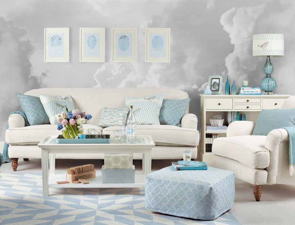 Light Grey Cloud Mural Duck Egg Blue Living Room Light Blue Living Room Blue Sofas Living Room
