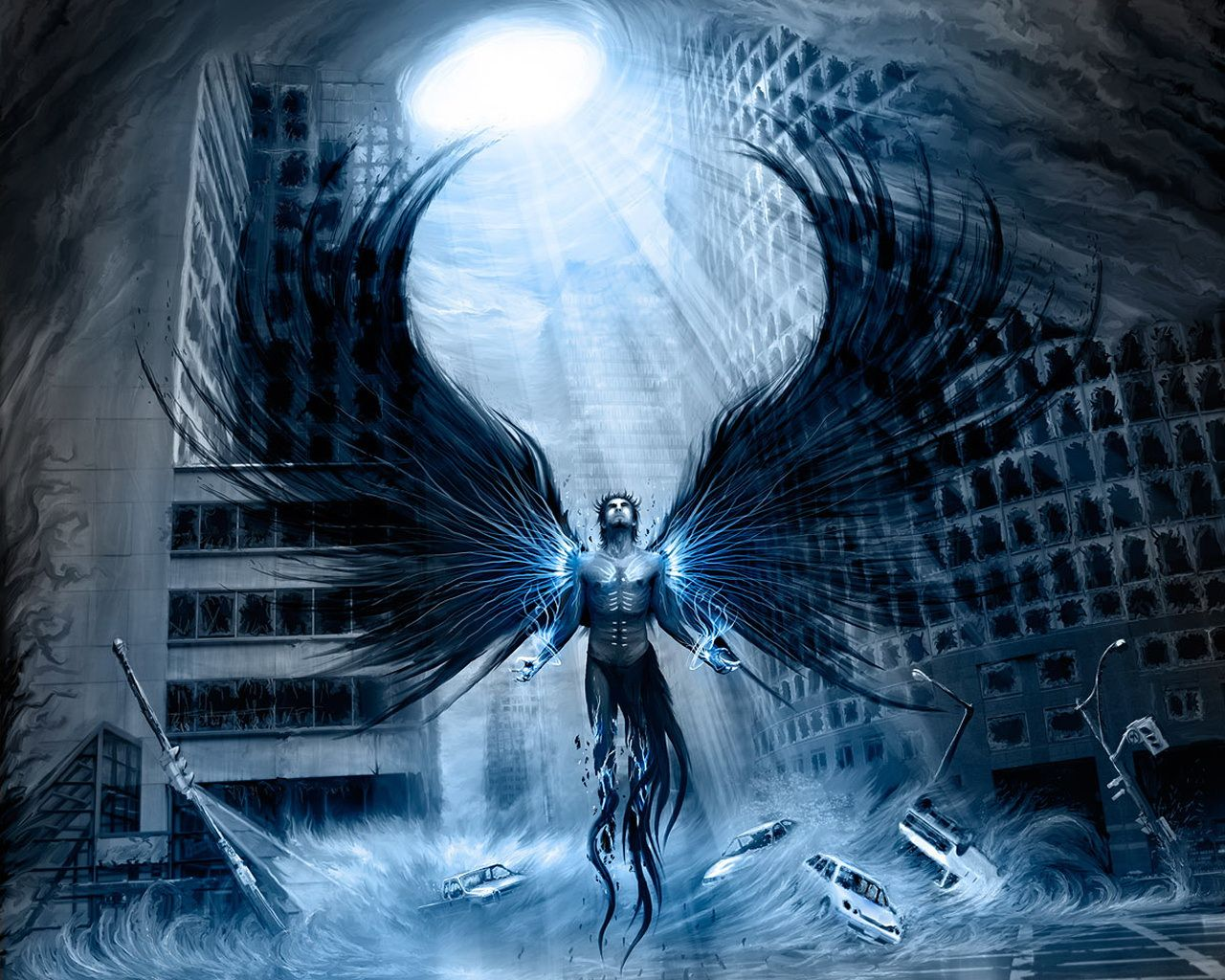 Disaster Water Angel In The City Wallpaper From Angels Wallpapers Angel Wallpaper Dark Angel Wallpaper Conceptual Illustration