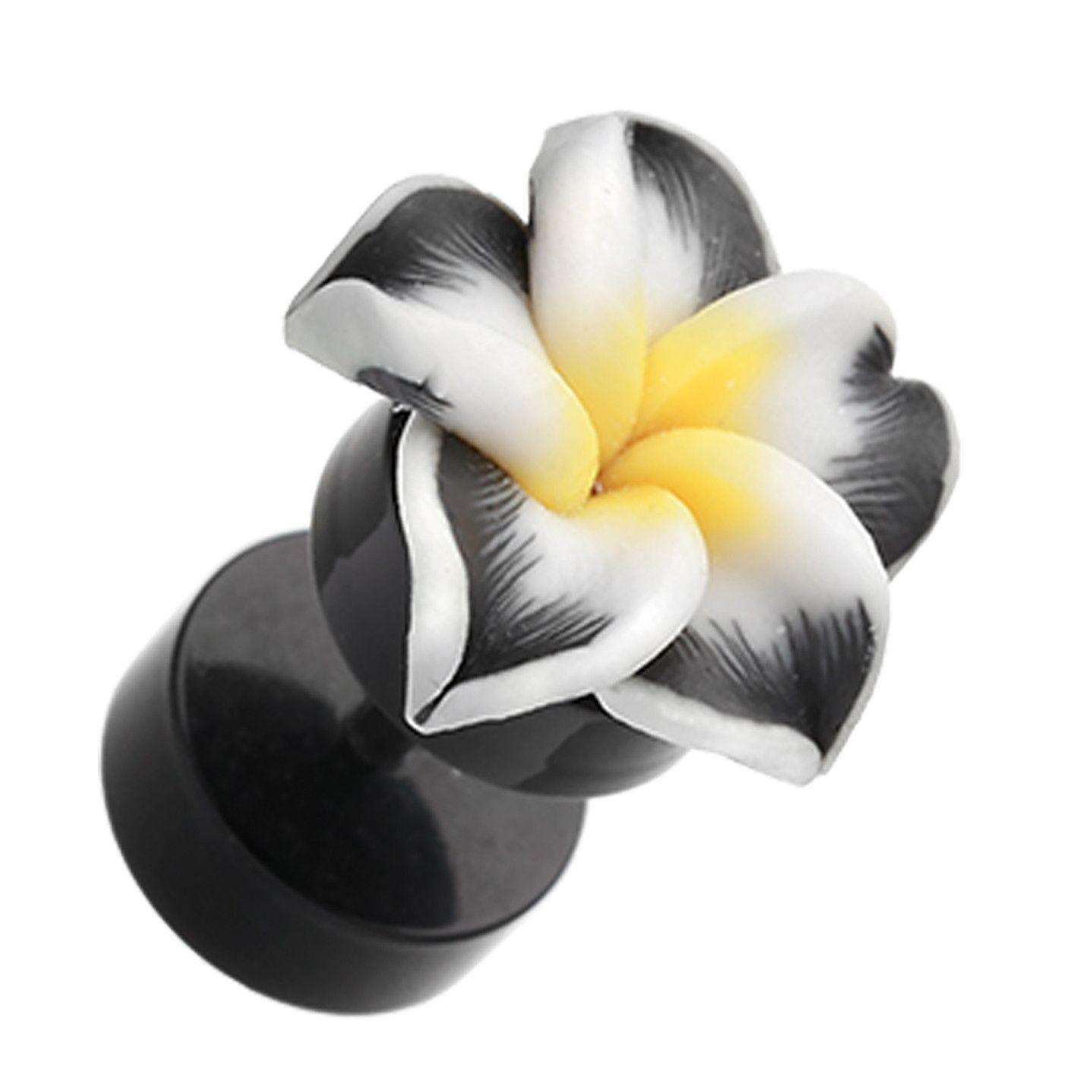 Hawaiian Plumeria Flower Acrylic Fake Plug Fake Plugs Hawaiian