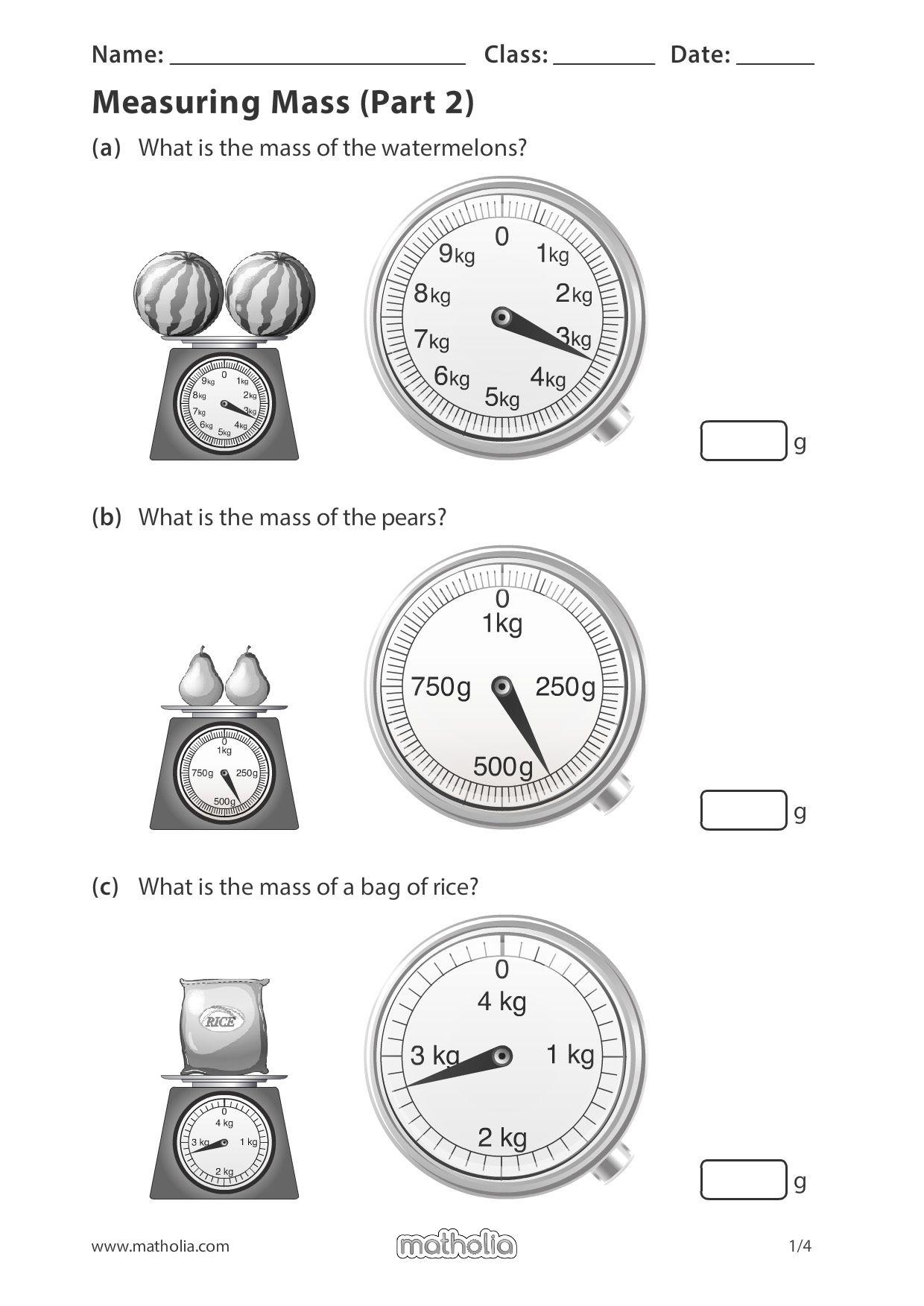 Measuring Mass (Part 2)   Math addition games [ 1753 x 1240 Pixel ]