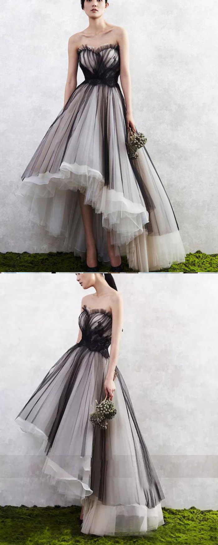 High low black and white tulle layered long formal dress pm v