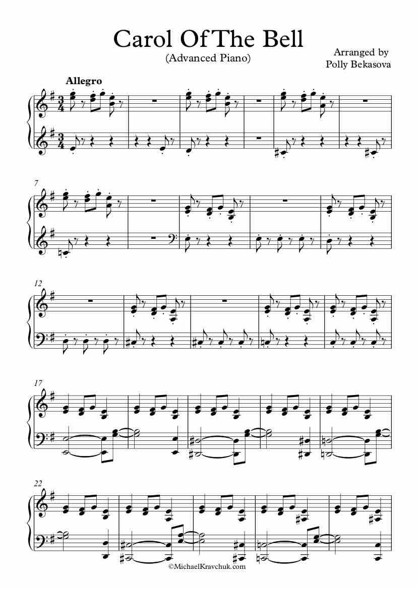 Free Piano Arrangement For Carol Of The Bells Advanced Level 6 Good Luck Sheet Music Carol Of The Bells Piano Sheet Music Free