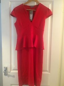 Dorothy Perkins Red Peplum Size 12 Dress New With Tags | eBay