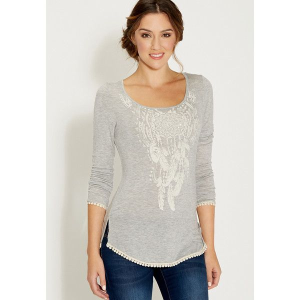 dee0805a35c414 maurices Tee With Dreamcatcher Graphic And Crocheted Hems (400 ZAR) ❤ liked  on Polyvore featuring tops