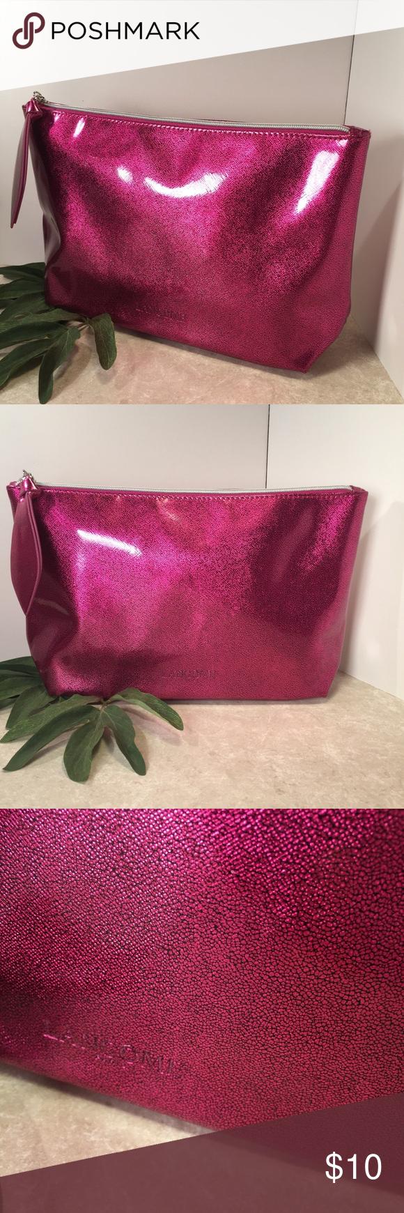 Lancôme pink sparkle metallic large makeup case Large