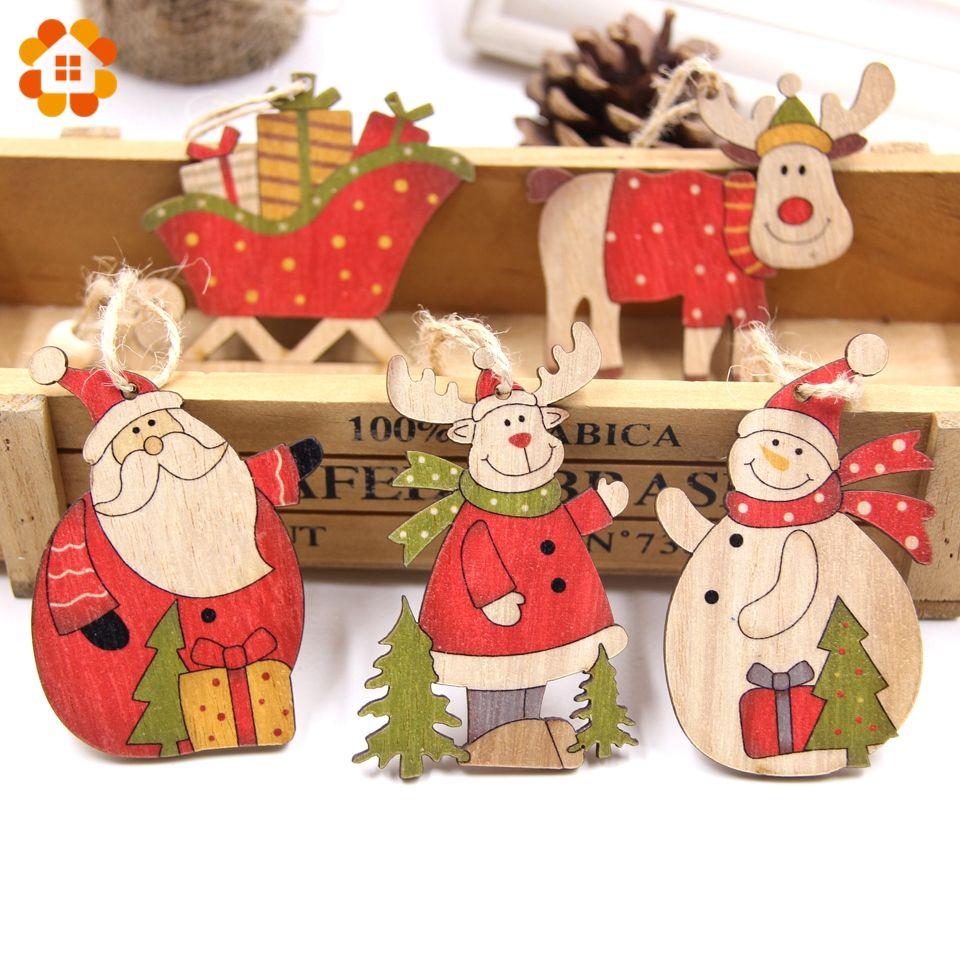 Günstige 5 stücke Weihnachten Santa Claus & Schneemann Holz Anhänger ...