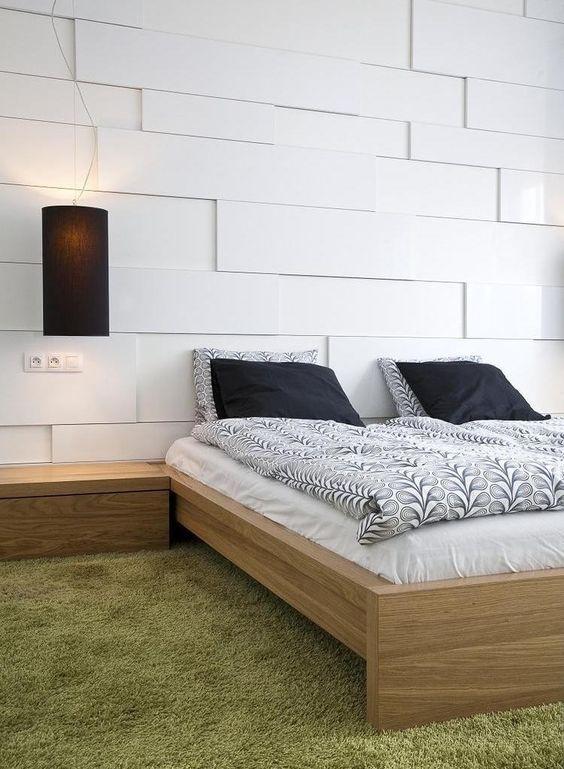 Wohnungseinrichtung Ideen Schlafzimmer Wandpaneele Weiss 3d Holz Bett Gruener Teppich Wohnungseinrichtung Ideen Wohnungseinrichtung Teppich Grun