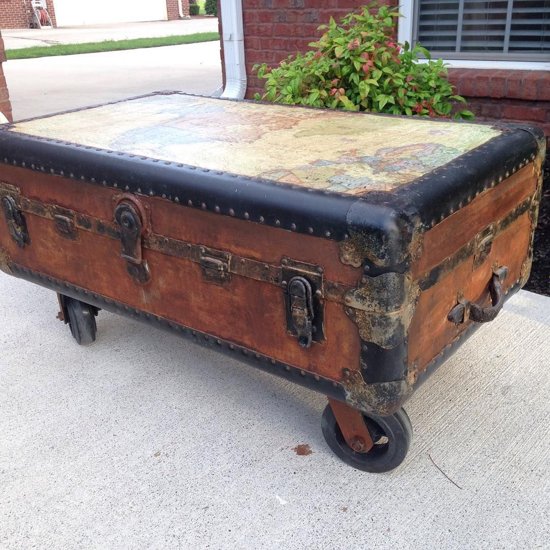 Vintage Trunk On Wheels With Decoupaged Map Of The World