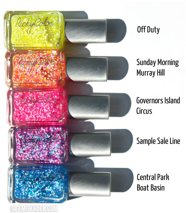 Ricky's RickyColor Nail Polish Hot Spots Collection Swatches, Review | via @glamorable #bbloggers #nails #nailpolish #rickysnyc #rickycolor #glitter #topcoat #neon #hex #summer