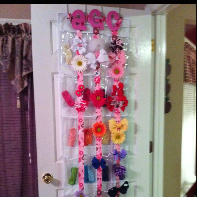 Over the door shoe rack converted to organize hair bows and bands! I did this for my girls too just a little differently.