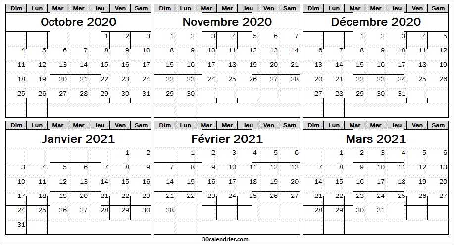 Calendrier Octobre 2020 a Mars 2021 Imprimable   Pinterest en 2020