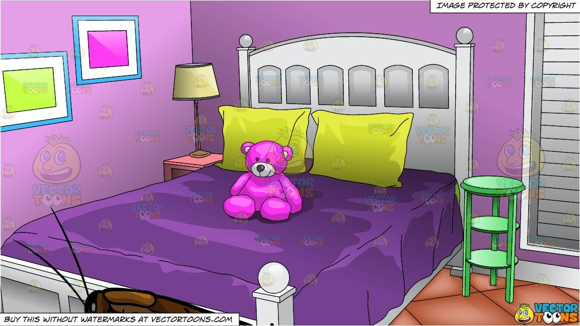 A Cockroach Detecting Food and Young Girls Bedroom Background is part of Young Girls bedroom - A house cockroach with brown outer wings, multiple legs, and two antennae, detecting something  Interior of a bedroom with lilac colored walls, a white bed frame and dark purple bedspread and yellow pillows on the bed  A pink teddy bear is sitting on the bed and there is a small green side table next to the bed