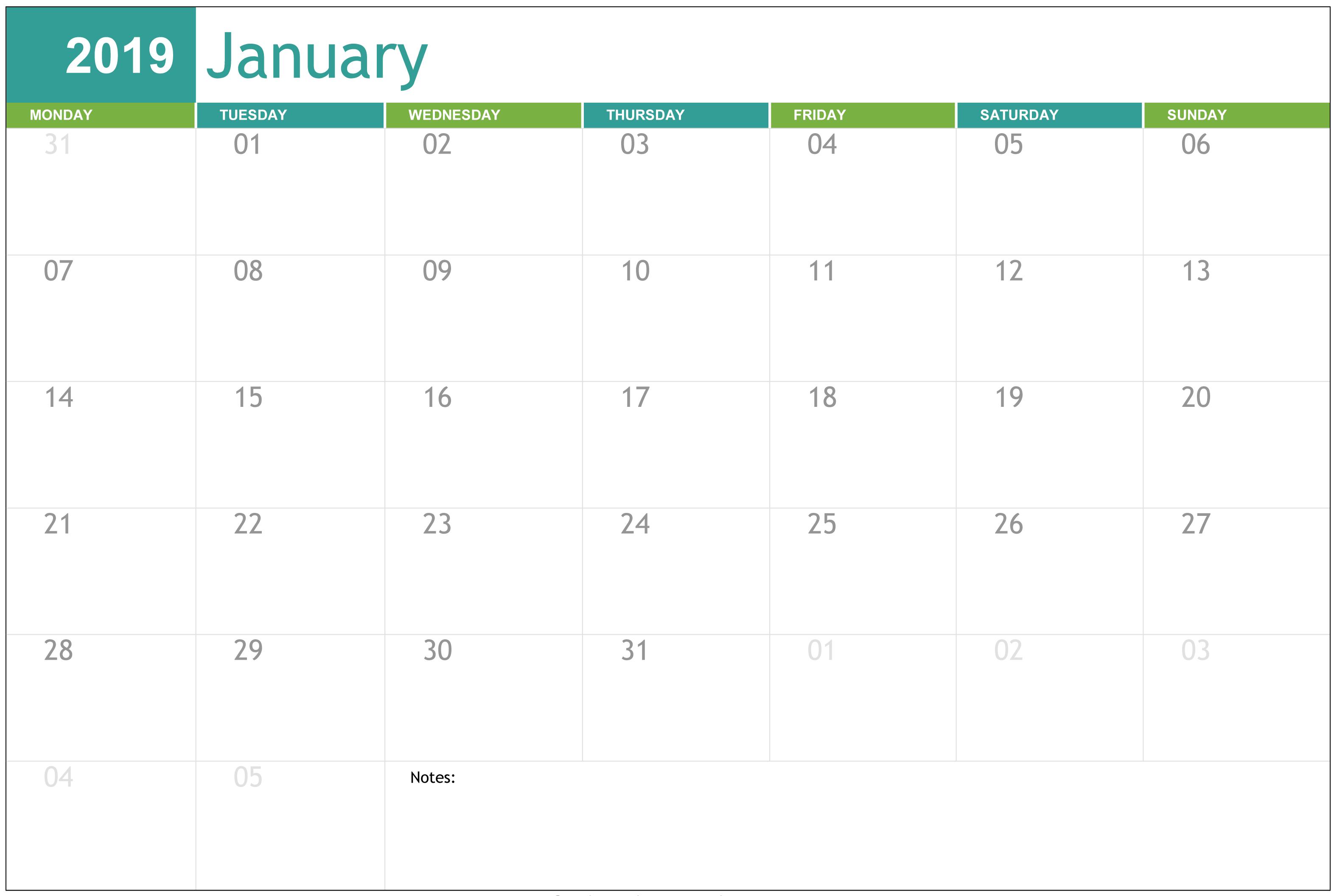 Editable January 2019 Calendar Free Printable 101 Free January
