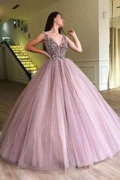 OKDRESSES offers Cheap Chic V Neck Tulle Long Ball Gown Prom Dress, Formal Eveni…