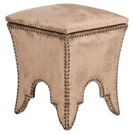 "Nailhead-trimmed storage ottoman.   Product: OttomanConstruction Material: Wood and cottonColor: ChampagneFeatures: Nailhead detailDimensions: 22.1"" H x 16.1"" W x 16.1"" D"