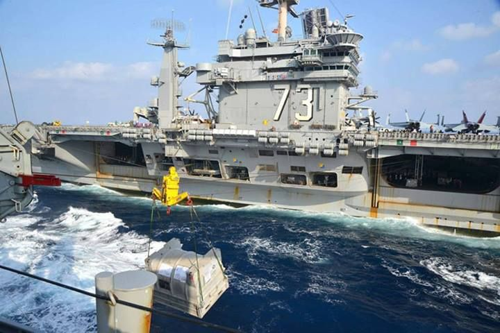 SOUTH CHINA SEA (Nov. 24, 2013) The U.S. Navy's forward-deployed aircraft carrier USS George Washington (CVN 73) steams alongside the Military Sealift Command dry cargo and ammunition ship USNS Charles Drew (T-AKE 10) during a replenishment-at-sea. (U.S. Navy photo by Mass Communication Specialist 3rd Class Brian H. Abel/RELEASED) USNS Charles Drew (T-AKE 10)