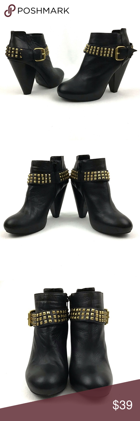 f65cac25c36 Dolce Vita Black Leather Gold Studded Booties 10 DV Dolce Vita Black ...