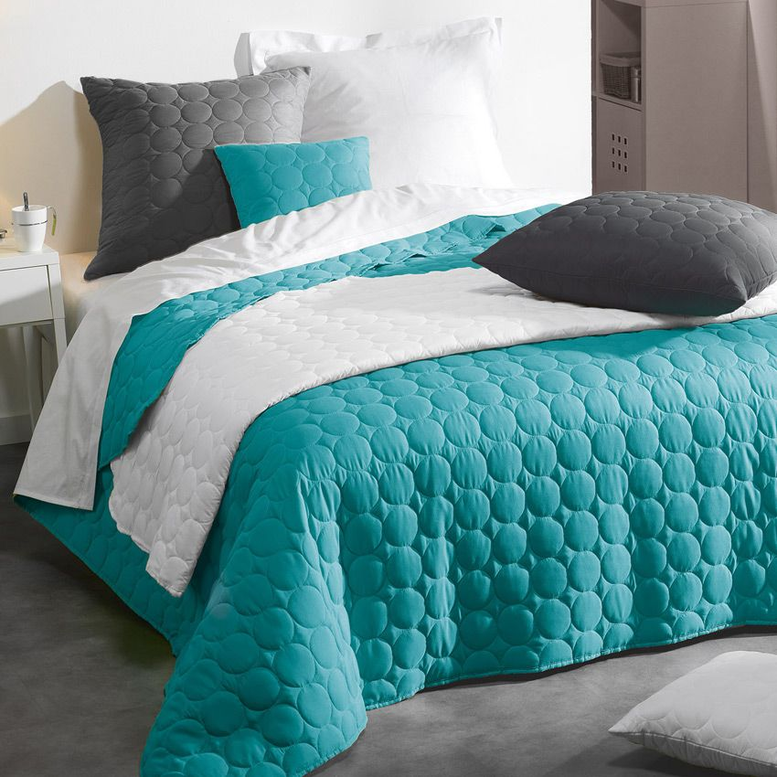couvre lit 220 x 240 cm candy bleu couvre lit couvre lit boutis et couvre. Black Bedroom Furniture Sets. Home Design Ideas