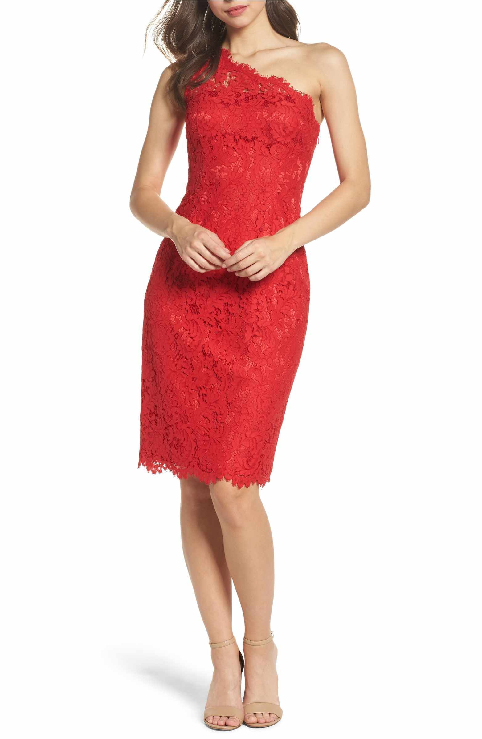 Eliza J One Shoulder Lace Dress Regular Petite With Images Lace Sheath Dress Women Wedding Guest Dresses Lace Dress