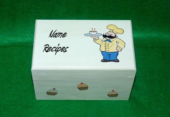 Recipe Box Hand Painted Personalized Wood Recipe Card Box Little