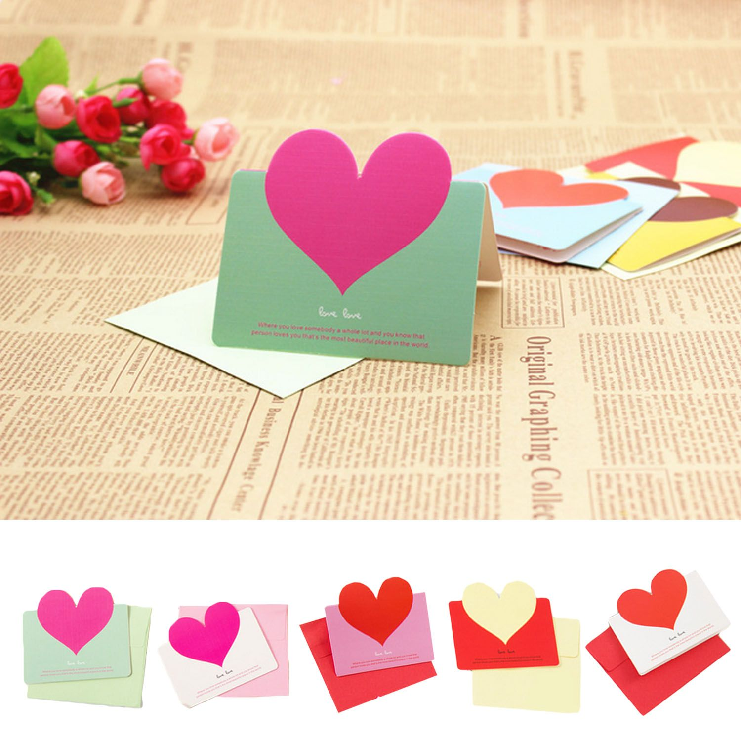 Taos 50pcs assorted colors love heart greeting cards holiday taos 50pcs assorted colors love heart greeting cards holiday blessing card with envelops for christmas birthday reheart Gallery