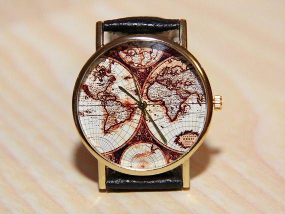 Wrist watches antique world map watch world map travel clock wrist watches antique world map watch world map by redmadagaskar gumiabroncs Images