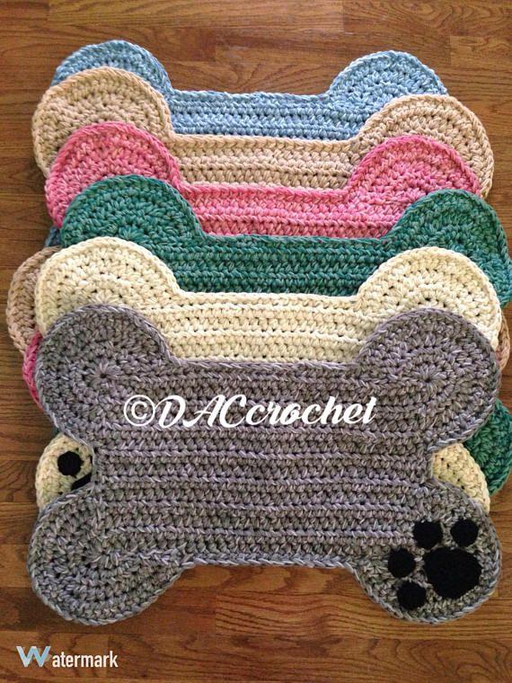 Crochet Pattern Dog Bone Placemat Pet Food Bowl Floor Mat Etsy Dog Sweater Crochet Pattern Crochet Placemat Patterns Crochet Dog Sweater