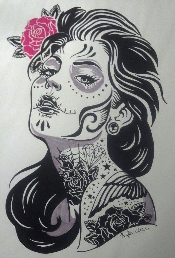 Day of the Dead Girl Print  Adriana. BROKEN ETSY LINK