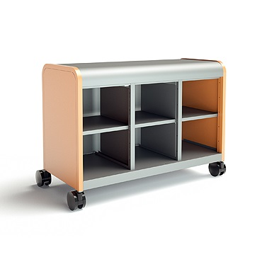 Cascade 6 Cubby Storage System On Wheels All Steel Construction With Your Choice Of Accent End Panel Colors