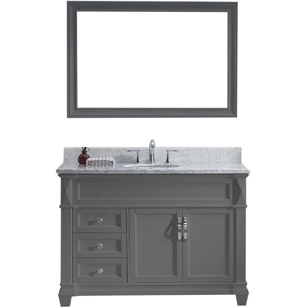 Virtu Usa Victoria 49 In W Bath Vanity In Gray With Marble Vanity Top In White With Round Basin And Mirror Ms 2648 Wmro Gr Marble Vanity Tops Single Bathroom Vanity Single Sink Bathroom Vanity