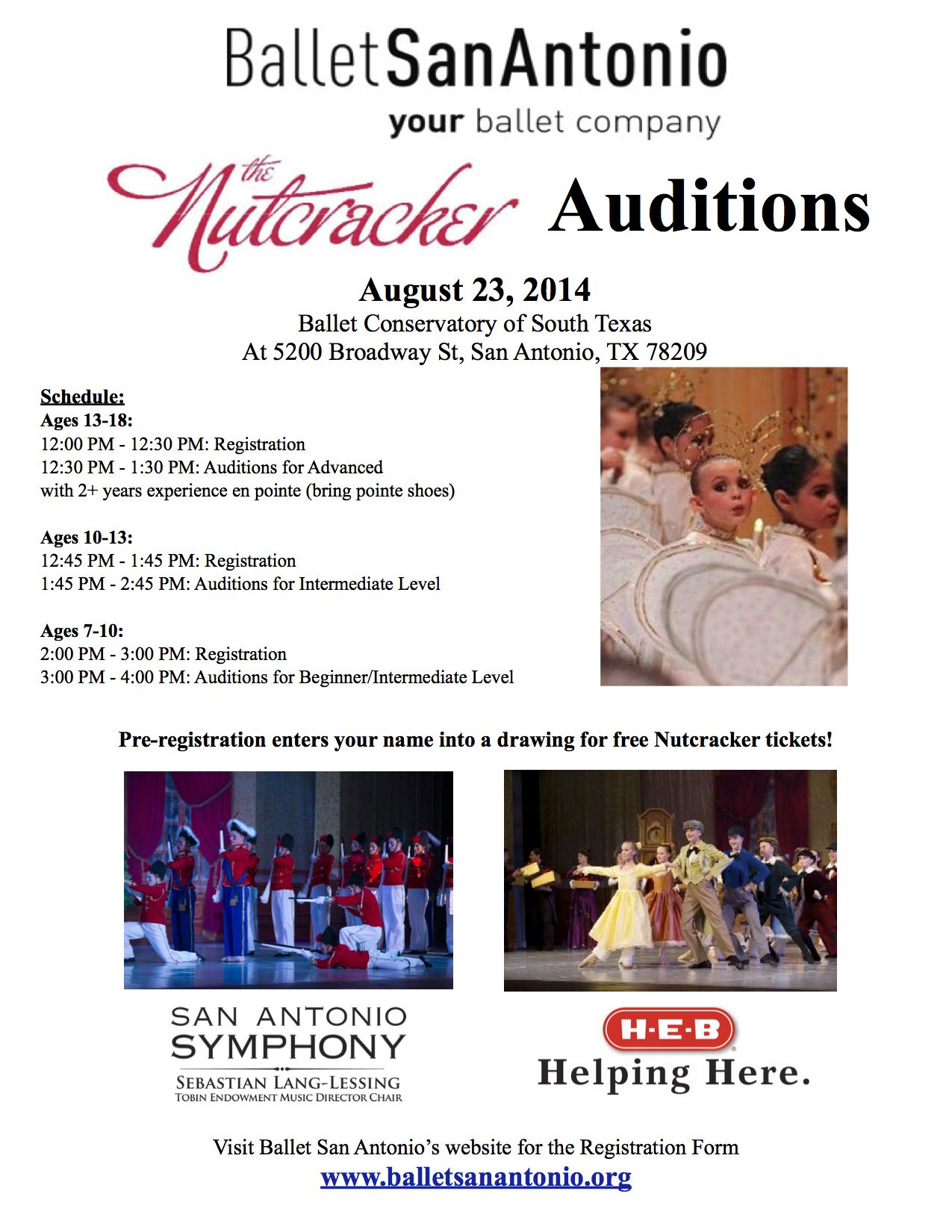 Nutcracker Children's Auditions are August 23! Pre-registering enters your name in a drawing for free Nutcracker tickets! Download the registration form here: http://balletsanantonio.org/performances/the-nutcracker-2/childrens-audition/