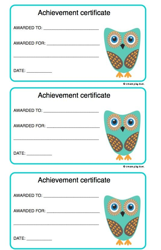 Achievement Certificates For Kids
