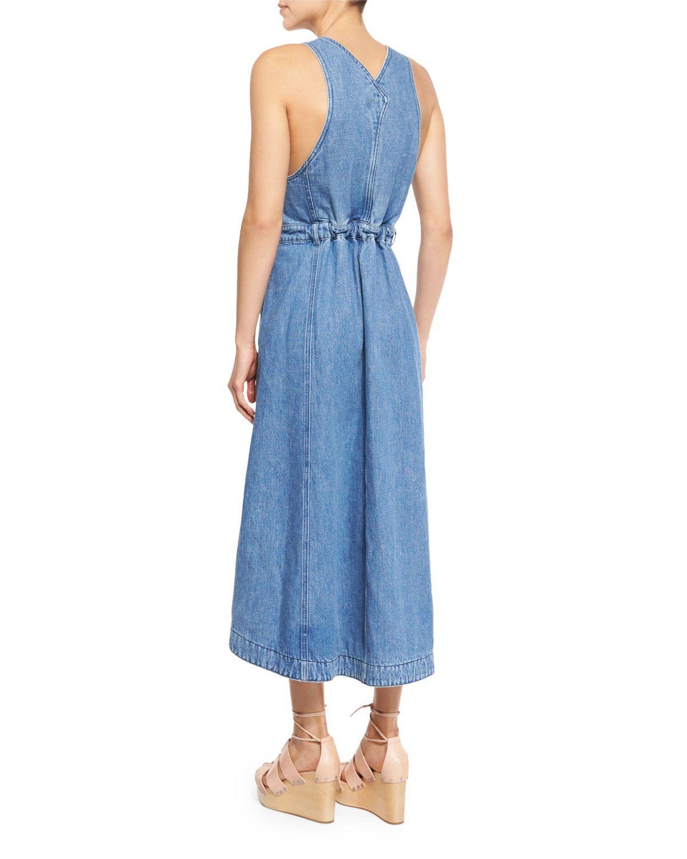 201aa14f192 See by Chloe Denim Overall Midi Dress